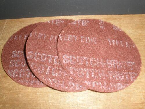 """Qty.3 3M Scotch-Brite HS-DC Fiber Disc 6/"""" x 1//2/"""" Very Fine 1//2/"""" Arbor USA"""