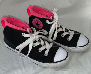 Persona Intentar Sin personal  Converse Chuck Taylor All Star Sneakers Jr SZ 1 High Top Tennis Shoes Black  pink | eBay