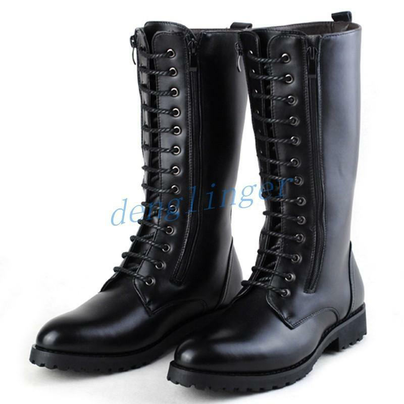 Retro Mens British Knee High Combat Boots Black Shoes Casual Patent Leather Shoe