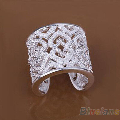 New Arrival Solid Silver Plated Crystal Ring Wide Hollow Band Opening Ring BF2U