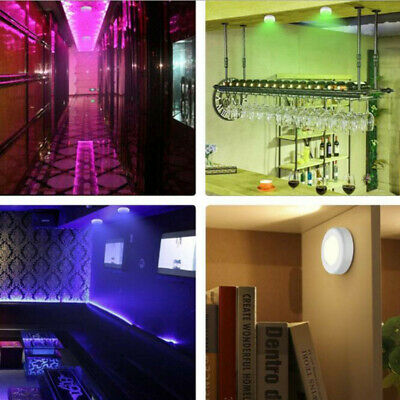 4 5v Under Cabinet Lights Wireless Led Puck With Remote Control 13 Color Ebay