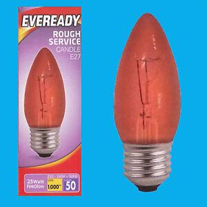 1 X 25w Rouge Fireglow Es E27 Vis Edison Bougie Couveuse Lampe Ampoule