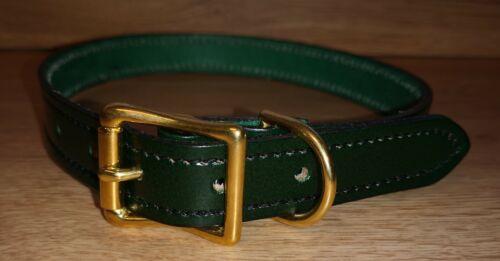"""Collar de Perro de Cuero Real Verde con punto negro hecho a mano 25mm 1/"""" A9"""