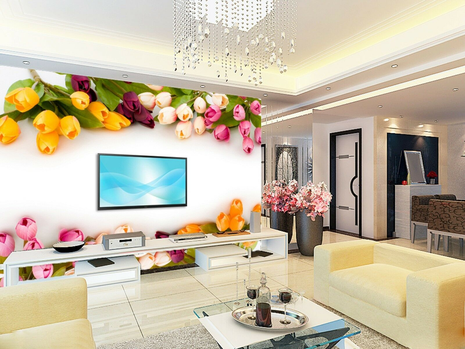 3D colord flowers vines Wall Paper Print Decal Wall Deco Indoor wall Mural