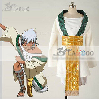 The Labyrinth of Magic Sharrkan  Cosplay Costume White Green Full Set Magi