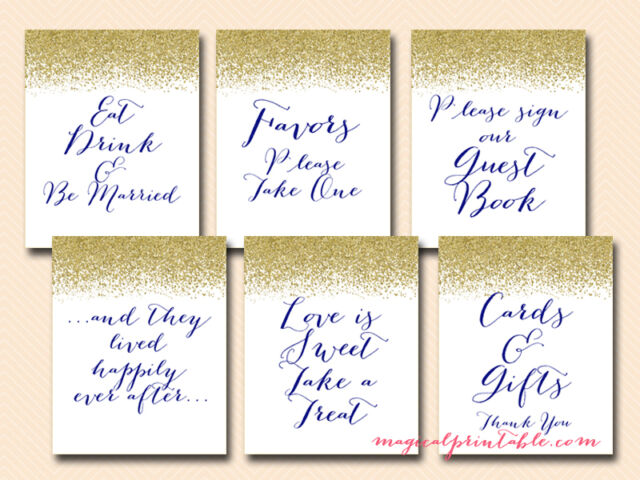 9ccf71fed44ae Print Yourself Blue and Gold Wedding Signs Bridal Baby Shower Signage Sn25