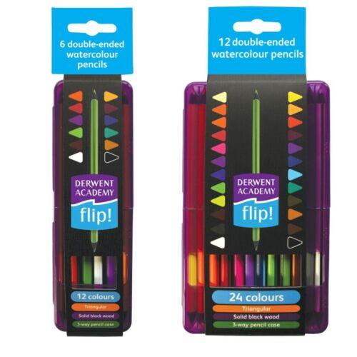DERWENT ACADEMY FLIP WATERCOLOUR PENCILS 6 or 12 double-ended blackwood pencils