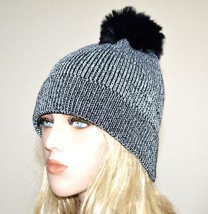 CAPPELLO-nero-argento-donna-berretto-lurex-copricapo-pon-pon-invernale-hat-G14