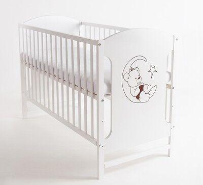 Babybett Kinderbett Mondbär 120x60 Steppung Matratze Holz Weiß Neu