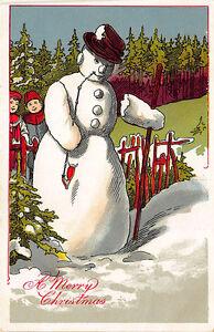 """A Merry Christmas"" Snowman Postcard"