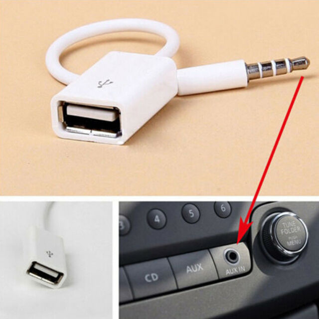 3.5mm male aux audio plug jack to usb 2.0 female converter cord cable carRDR