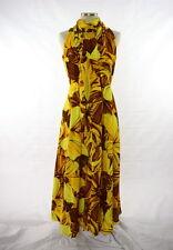 Vtg HILO HATTIE 70s Disco Yellow & Brown Floral Print High Neck Tie Maxi Dress M
