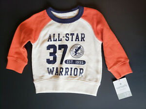 Carters-Baby-Boy-Sweatshirt-Size-12-Months-Long-Sleeve-Navy-Orange-NWT