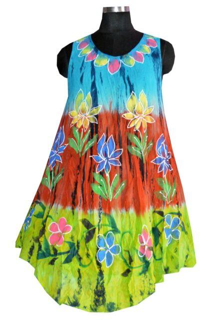 7c506129bd Indian Bohemian Tie Dye printed Sleeveless beach cover up Sun Dress KS52