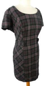 Pepperberry-16-Super-Curvy-Grey-Purple-Check-Wool-Mix-Dress-Smart-Office-Work