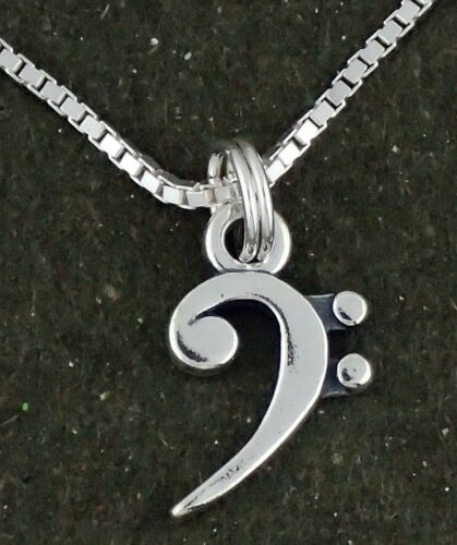 Music Note Bass Clef Pendant Necklace Sterling Silver 16 Inch Chain Musician