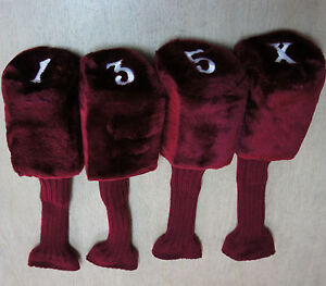 Set-of-4-Tadpole-Acrylic-Headcovers-Burgund-Protect-Heads-Shafts