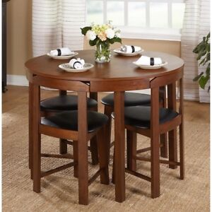 Details about Compact Dining Set 5 Piece Round Walnut Kitchen Small Space  Saving Table Wood