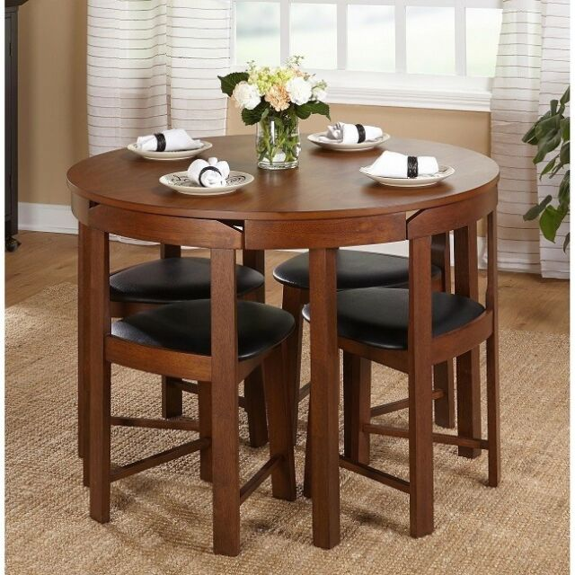 Compact Dining Set 5 Piece Round Walnut Kitchen Small E Saving Table Wood