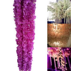 120CM Home Wisteria Silk Garland Artificial Hydrangea Wedding Flower Romantic
