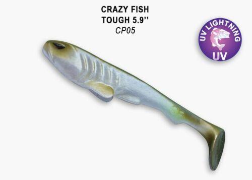 Gummiköder Big Bait Hecht Gummifisch Angelköder Crazy Fish TOUGH 150mm