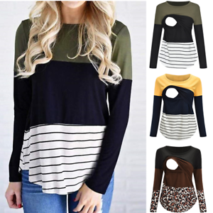 Women-Maternity-Long-Sleeve-Striped-Nursing-Tops-T-shirt-For-Breastfeeding