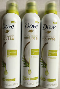 3 Dove Body Wash Mousse With Coconut Oil Concentrated 10 3 Oz 11111012196 Ebay
