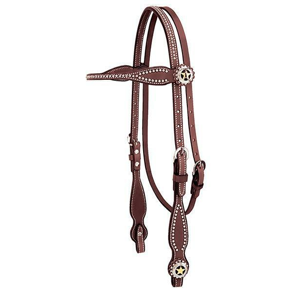 Western Havana Leather Set of Headstall Breast collar and Reins with Silber Dots
