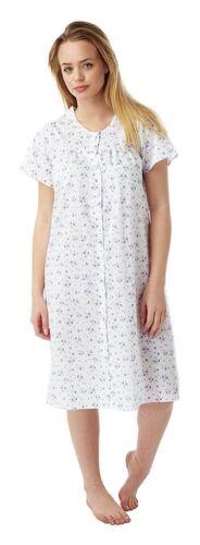 Ladies Floral Short Sleeve Poly Cotton Button Through Nightdress Nightie 12-30