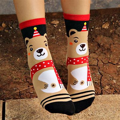 Christmas Gift Women Winter Warm Cotton Socks Santa Claus Reindeer Snowman Bear