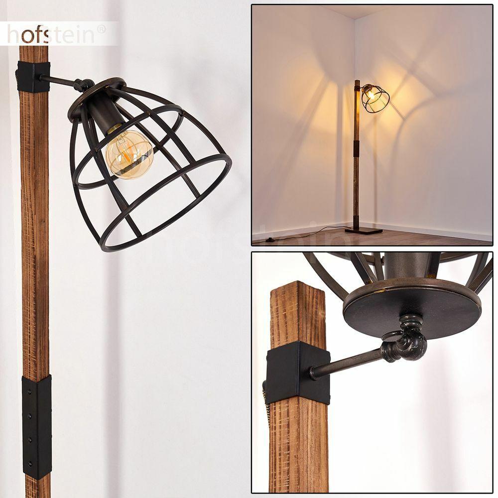 Holz Schwarz Boden Stand Steh Lampe Lese Leuchte Wohn Schlaf Zimmer Beleuchtung