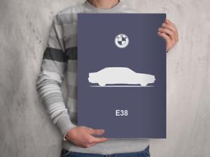 POSTER BMW E38 7-Series - Car Silhouette A4 A3 A2