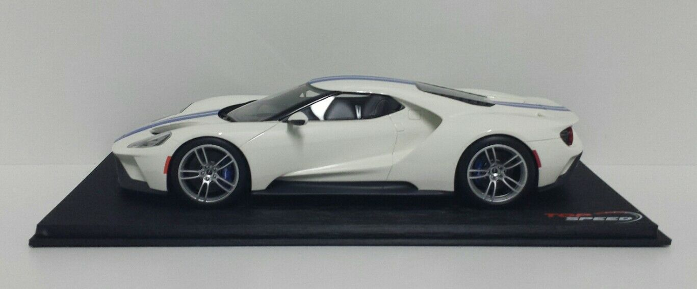 MODÈLE 1 18 FORD GT FROZEN BLANC WITH LIGHTNING BLEU STRIPE TSM TOP SPEED NEW