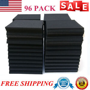 "96Pack Black- Acoustic Foam Panel Studio Wall Tiles Soundproofing 12""x12""x1"" USA"
