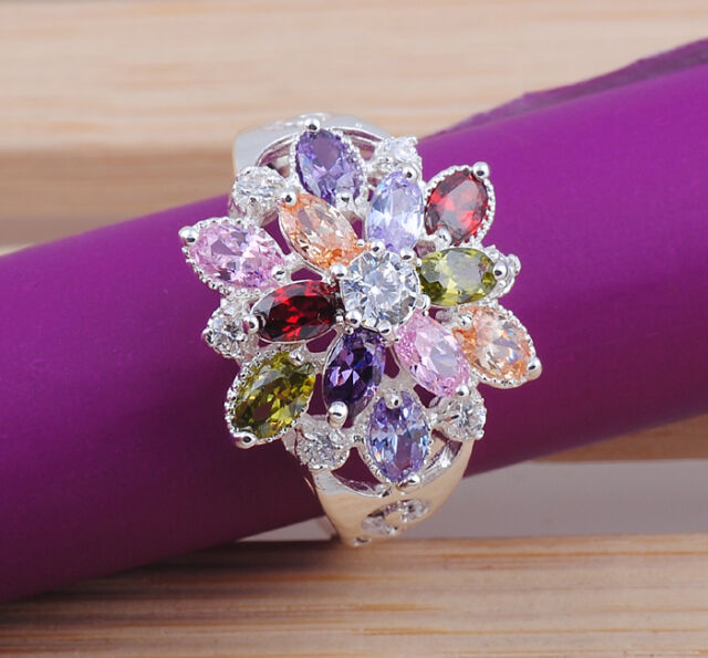 Nice hot round cut topaz gemstone Silver  ring size6 7 8 9 10 M213