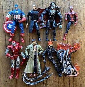 Marvel-Legends-Toybiz-defekt-Figuren-Lot-Spiderman-Ghost-Rider-Avengers-Doc-Ock