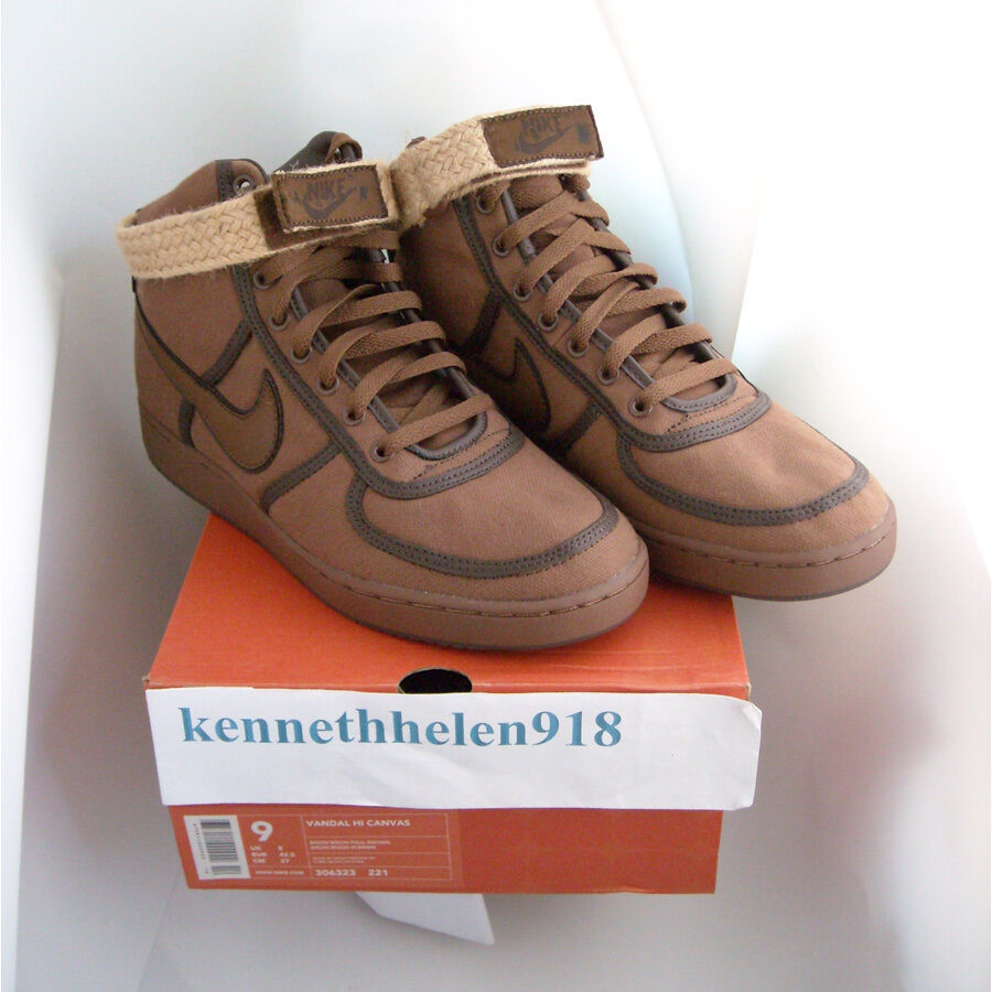 NEW 2003 NIKE VANDAL HI CANVAS BISON PAUL BROWN 306323-221 homme Taille 9