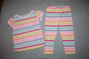 f86a0c97d6554 Toddler Girls S/S T-SHIRT & LEGGINGS Dots BRIGHT STRIPES Pink Orange ...
