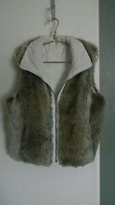 WEATHERPROOF-Faux-Fur-amp-White-Reversible-VEST-Zip-Up-Front-Size-Medium-EUC