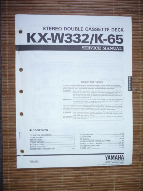Service Manual For Yamaha Kx K