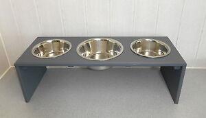 Gamelle pour chien / gamelle pour chien 3 assiettes, gris, toutes les couleurs possibles! (1143e)