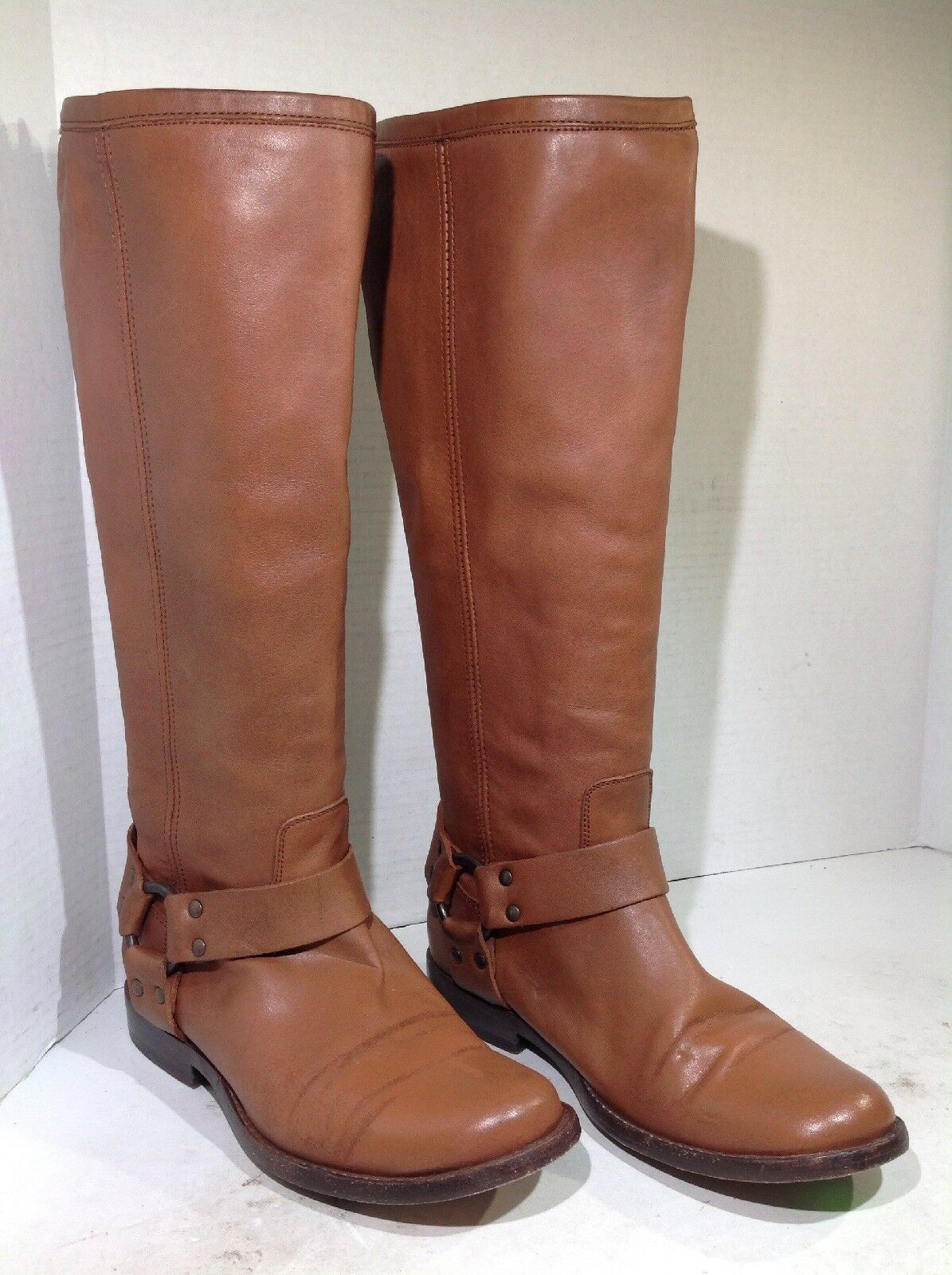 Frye Women's Size 6 Phillip Harness Tall Brown Leather Riding Boots  378 FB2-107