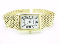 Ladies 14k Yellow Gold Tourneau White Dial Quartz Watch 20mm -- MINT CONDITION