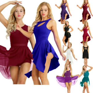 Womens-Lyrical-Contemporary-Ballet-Dress-Gymnastics-Leotard-Dance-Skirts-Costume