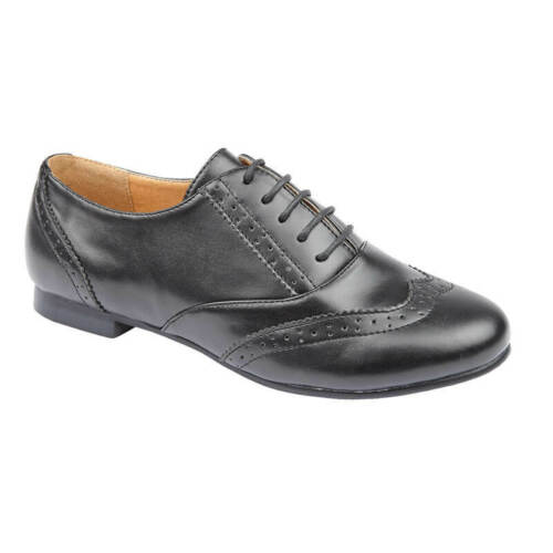 girls school shoes lace up flat low profile hard wearing sole punched vamp