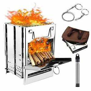 WADEO Wood Burning Camp Stove, Stainless Steel Folding Camp Stove, Portable Back