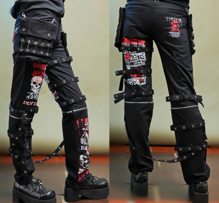 Mens Boys Punk Casual Pants Gothic Printed Rivet Skulls Long Slim Trousers New