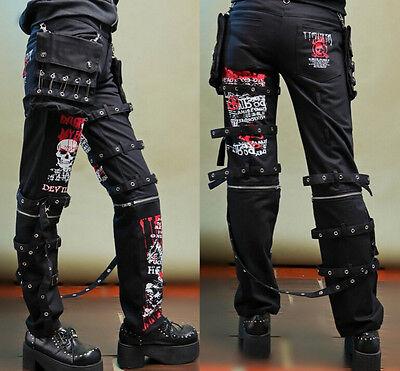 2018 Hip Hop Men/'s Rivet Punk Leisure Pants Gothic Buckle Long Loose Trousers