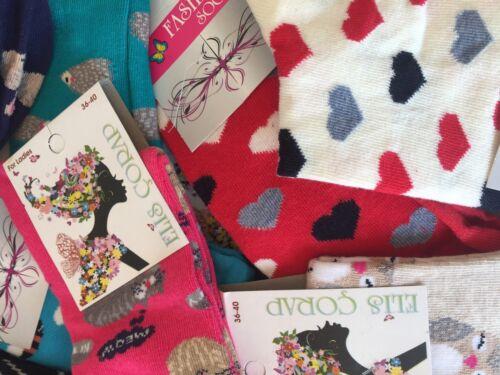 15 pairs luxury women/'s ladies design coloured socks cotton UK size 4-7 FKHMHJ