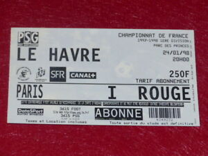 COLLECTION-SPORT-FOOTBALL-TICKET-PSG-LE-HAVRE-24-JANV-1998-Champ-France